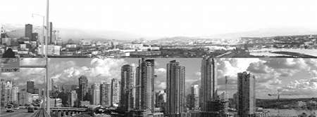 False Creek, Vancouver from the Granville Street Bridge, 1978 and 2003, black and white