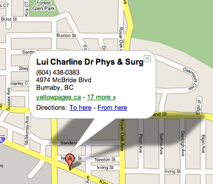 Map to Dr. Lui's office