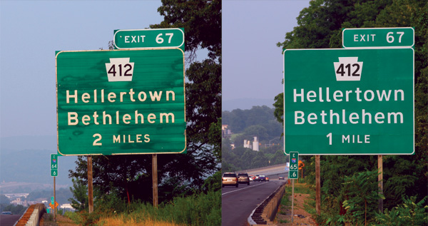Highway Gothic font vs. Clearview font