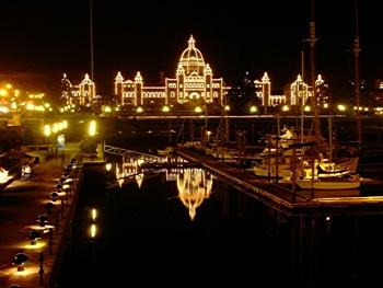 [View of B.C. Legislature at night]