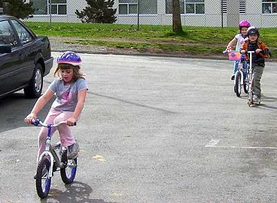 [M rides a bike]
