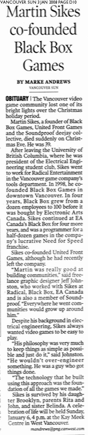 Martin Sikes article - Vancouver Sun, 8 Jan 2008