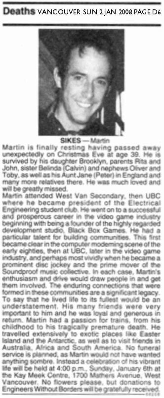 Martin Sikes obituary - Vancouver Sun, 2 Jan 2008