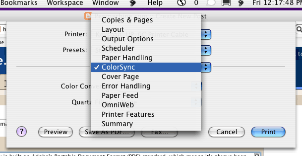 Screenshot of picking ColorSync from Print dialog box